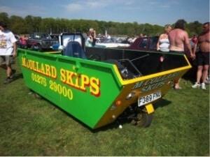 Car made using a skip bin