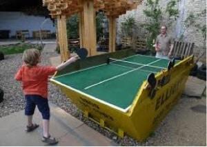 Ping Pong table made using a skip bin