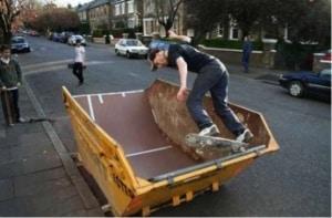 Skating Ramp using a skip bin
